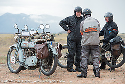 Thomas Trapp, owner of the Harley-Factory Frankfurt dealership in Germany with his 1916 Harley-Davidson, his son Eric Trapp and Paul Jung, also of Germany, with his 1915 Harley-Davidson entry from W and W Cycles of Wurzburg at the Four Corners (the meeting of Utah, Colorado, New Mexico and Arizona) during the Motorcycle Cannonball Race of the Century. Stage-11 ride from Durango, CO to Page, AZ. USA. Wednesday September 21, 2016. Photography ©2016 Michael Lichter.