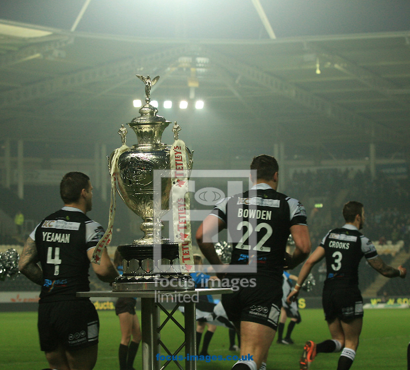 Hull FC team run out in front of the challenge Cup before KO during the Tetley's Challenge Cup match at the KC Stadium, Kingston upon Hull<br /> Picture by Richard Gould/Focus Images Ltd +44 7855 403186<br /> 03/04/2014