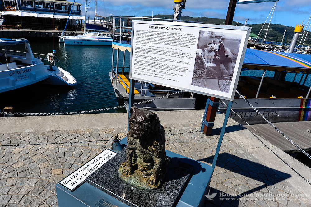 Knysna is a town in the Western Cape Province of South Africa and is part of the Garden Route. Memorial of Bondi the bulldog.
