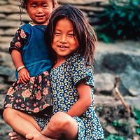 Children outside their house in the Kali Gandaki Gorge, Nepal.