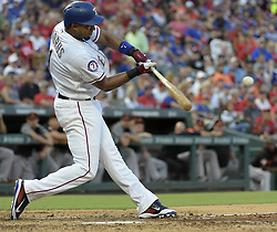 July 28, 2017 - Arlington, TX, USA - The Texas Rangers' Elvis Andrus hits a two-run home run during the third inning against the Baltimore Orioles at Globe Life Park in Arlington, Texas, on Friday, July 28, 2017. (Credit Image: © Max Faulkner/TNS via ZUMA Wire)
