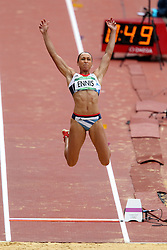 Jessica Ennis n of Great Britain during the Long Jump event held as part of the Women's Heptathlon on day 2 of the track and field meet at the Olympic Stadium in Olympic Park in London as part of the London 2012 Olympics on the 3rd August 2012..Photo by Ron Gaunt/SPORTZPICS