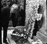 Dr Ryan Places Wreath on Grave of Wolfe Tone at Bodenstown.23/06/1957