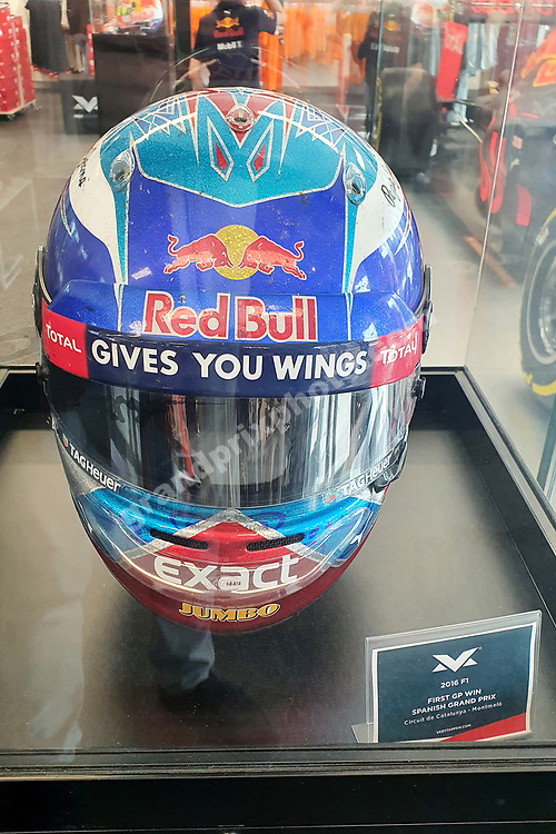 Inside the Max Verstappen Store (Red Bull-Honda) in Swalmen near Roermond with his first F1 winning helmet before the 2021 Russian Grand Prix at Sochi. Photo: Grand Prix Photo/ Michael Stirnberg