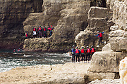Coasteering at Dancing Ledge on the Dorset coast.