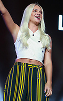 Louisa Johnson performs at the Girlguiding Big Gig 2017,SSE Arena Wembley, London UK, 07 October 2017, Photo by Tejas Sandhu