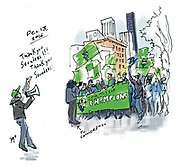 "The Sounders MLS Cup march and rally ""felt like being with a bunch of friends,"" writes Sketcher Gabriel Campanario. (Gabriel Campanario / The Seattle Times)."