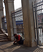 A destitute beggar on the streets of Venice, Italy during the 2008-11 Global Financial crisis.