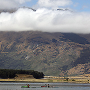 Kayakers in action on Diamond Lake during the Paradise Triathlon and Duathlon series, Paradise, Glenorchy, South Island, New Zealand. 18th February 2012. Photo Tim Clayton