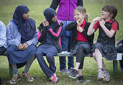 May 24, 2017 - St. Paul, MN, USA - United States - Fifth graders at Al-Amal School (a Muslim private school) and  Saint Mark's School (a Catholic school) who have been email pen pals for the past six weeks finally met for a field trip to meet and play games in an effort by both schools to create understanding between religions, Wednesday, May 24, 2017 in St. Paul, MN.    ]  ELIZABETH FLORES • liz.flores@startribune.com (Credit Image: © Elizabeth Flores/Minneapolis Star Tribune via ZUMA Wire)