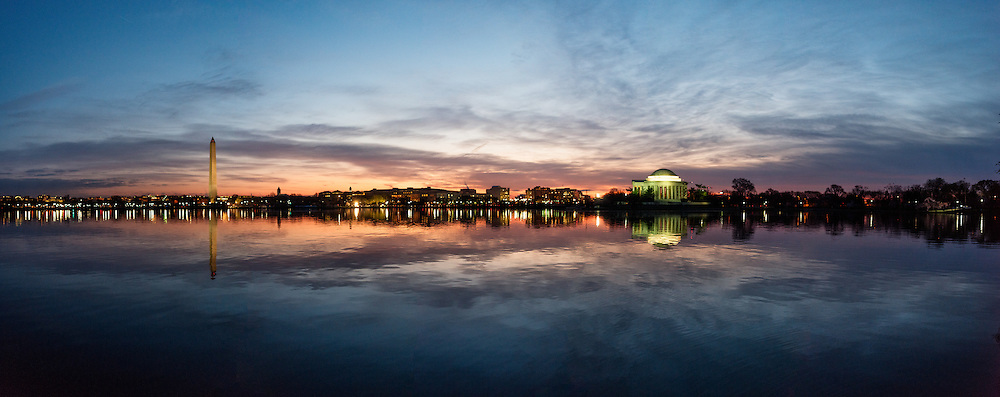 Washington DC--Opened in 1943 and designed by architect John Russell Pope, the Jefferson Memorial sits on an island on the southern bank of the Tidal Basin next to the Potomac and its Washington Channel.