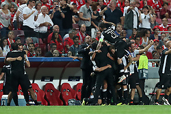 August 21, 2018 - Lisbon, Portugal - PAOK's midfielder Amr Warda (74) from Egypt celebrates with teammates after scoring during the UEFA Champions League play-off first leg match SL Benfica vs PAOK FC at the Luz Stadium in Lisbon, Portugal on August 21, 2018. (Credit Image: © Pedro Fiuza via ZUMA Wire)