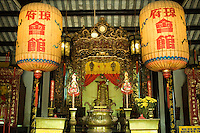 Trieu Chau Assembly Hall was built in honor of Phuc Ba, a god with the power to calm the sea. To the right and left are shrines to the god of money and the god of happiness. Worshippers come at night to make oaths or ask for favors.