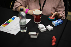 © Licensed to London News Pictures . 12/12/2019. Bury, UK. Ballot counters make preparations at the the count for the constituency of Bury South in the 2019 UK General Election , at Castle Leisure Centre in Bury . Photo credit: Joel Goodman/LNP