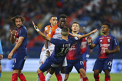 September 26, 2018 - Caen, France - Junior Sambia (Montpellier) altercation avec Faycal Fajr  (Credit Image: © Panoramic via ZUMA Press)
