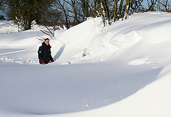 © Licensed to London News Pictures. 02/02/2019. Shepton Mallet, UK.  Tim Walters walks through a snow snow drift in Shepton Mallet in Somerset.  Photo credit: Jason Bryant/LNP