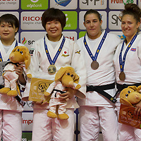 Gold medalist Mami Umeki (2nd L) of Japan, silver medalist Rika Takayama (L) of Japan with bronze medalists Natalie Powell (R) of Great Britain and Guusje Steenhuis (2nd R) of Netherlands celebrate their victory during an awards ceremony after the Women -78 kg category at the Judo Grand Prix Budapest 2018 international judo tournament held in Budapest, Hungary on Aug. 12, 2018. ATTILA VOLGYI