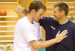 Matjaz Smodis and Goran Jagodnik during practice session of Slovenian National Basketball team during training camp for Eurobasket Lithuania 2011, on July 12, 2011, in Arena Vitranc, Kranjska Gora, Slovenia. (Photo by Vid Ponikvar / Sportida)