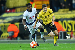 February 13, 2019 - London, England, United Kingdom - Borussia Dortmund midfielder Christian Pulisic gets past Tottenham defender Serge Aurier during the UEFA Champions League match between Tottenham Hotspur and Ballspielverein Borussia 09 e.V. Dortmund at Wembley Stadium, London on Wednesday 13th February 2019. (Credit: Jon Bromley | MI News & Sport Ltd) (Credit Image: © Mi News/NurPhoto via ZUMA Press)