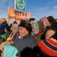 Mongolia. Shaman worshipping to queen lake ( huvsgul lake ) and king saridag (great horidol saridag moutain) during the Ice festival on the frozen Khuvsgul lake. - siberia border - for the mongol new year ,  tsagaan sar, in the cold winter   Khuvsgul province -   /  Ceremonie chamanique./  Festival des glaces  sur le lac gelé de Khovsgol - frontiere siberienne-  pour Tsagan sar; le nouvel an mongol, en hivoir dans le froid   Khovgul  - Mongolie /  L0055881