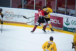 GLAVIC Gasper vs Gian luca March during Alps Hockey League match between HC Pustertal and HDD SIJ Jesenice, on April 3, 2019 in Ice Arena Podmezakla, Jesenice, Slovenia. Photo by Peter Podobnik / Sportida