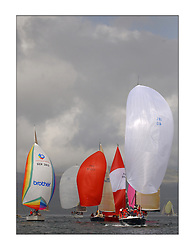 Yachting- The first days inshore racing  of the Bell Lawrie Scottish series 2003 at Tarbert Loch Fyne.  Light shifty winds dominated the racing... Azure and the Class one fleet head downwind...Pics Marc Turner / PFM