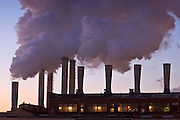 Moscow, Russia, 17/01/2006..Steam rises from Mosenergo power station in central Moscow as a Siberian weather front brings temperatures down to minus 36C in the Russian capital and leads to power cuts in the city.