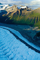 Aerial view of the upper Kennecott Glacier, Wrangell-St. Elias National Park Alaska