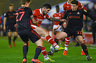 Alex Mowatt of Barnsley (27) in action against Lynden Gooch of Sunderland (11) during the EFL Sky Bet League 1 match between Barnsley and Sunderland at Oakwell, Barnsley, England on 12 March 2019.