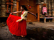 18th July 2015, Naggar village, Radhika (7) practices her devotional dance in honour of Lord Krishna at the Murlidhar Krishna temple, Thawa, near Naggar Village, Himalchal Pradesh, India on the 18th July 2015. <br /> <br /> PHOTOGRAPH BY AND COPYRIGHT OF SIMON DE TREY-WHITE<br /> <br /> + 91 98103 99809<br /> email: simon@simondetreywhite.com<br /> photographer in delhi