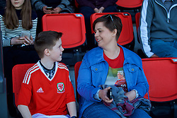 YSTRAD MYNACH, WALES - Wednesday, April 5, 2017: Members of Jessica Fishlock's family including her nephew watch on from the stands during the Women's International Friendly match against Northern Ireland at Ystrad Mynach. (Pic by Laura Malkin/Propaganda)