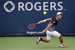 August 6, 2018 - Toronto, ON, U.S. - TORONTO, ON - AUGUST 06: Yoshihito Nishioka (JPN) returns the ball during his first round match of the Rogers Cup tennis tournament on August 6, 2018, at Aviva Centre in Toronto, ON, Canada. (Photograph by Julian Avram/Icon Sportswire) (Credit Image: © Julian Avram/Icon SMI via ZUMA Press)
