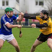 Cratloe's Sean Collins and Clonlara's Domhnall O'Donovan collide