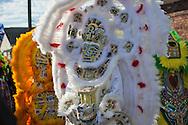 2/17/ 15, New Orleans, LA, Chief Chaka Gulu, a Mardi Gras Indian leading his tribe on a Mardi Gras Parade on Mardi Gras Day.