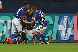 GELSENKIRCHEN, Sept. 30, 2017  Leon Goretzka (2nd L) of Schalke 04 celebrates scoring with teammates during the German Bundesliga match between Schalke 04 and Bayer Leverkusen in Gelsenkirchen, Germany, on Sept. 29, 2017. The match ended with a 1-1 tie. (Credit Image: © Joachim Bywaletz/Xinhua via ZUMA Wire)