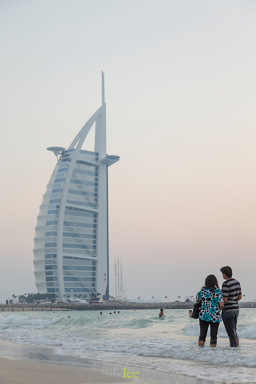 Burj Al Arab seen at dusk, Jumeirah Beach, United Arab Emirates