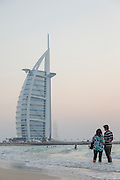 Burj Al Arab seen at dusk, Jumeirah Beach, United Arab Emirates