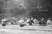 London, United Kingdom.  Oxford University Boat Club, Training Camp at St Paul's School, Hammersmith 2-12 Jan. 1990, Photography days 3 and 6th Jan. The squad training on the River Thames,[Tideway] Between the Pink House, Isleworth and Putney Hard,<br /> <br /> [Mandatory Credit. Peter SPURRIER Intersport Images}.<br /> <br /> Blue Boat. W, M Gaffney J J Heathcote D G Miller R J Obholzer M C Pinsent J W C Searle T G Slocock M W Watts. 1991, W, P A J Bridge N Chugani H P M ..