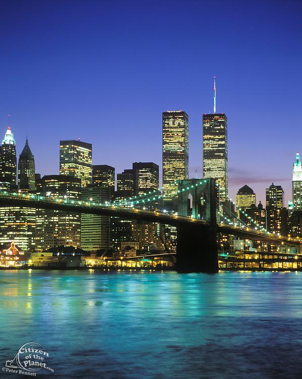 World Trade Center and Brooklyn Bridge in the 1990's, New York, USA