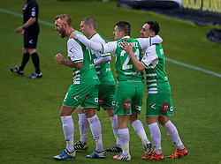 WREXHAM, WALES - Monday, May 2, 2016: The New Saints' Ryan Brobbel [far right] celebrates scoring the first goal against Airbus UK Broughton with team-mates during the 129th Welsh Cup Final at the Racecourse Ground. (Pic by David Rawcliffe/Propaganda)