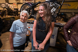 Still riding as a nonagenarian (90 year old,) Gloria Struck with her daughter Lori at Bill Dodge's 3rd annual get-together at Blings Cycles during Daytona Bike Week 75th Anniversary event. FL, USA. Wednesday March 9, 2016.  Photography ©2016 Michael Lichter.