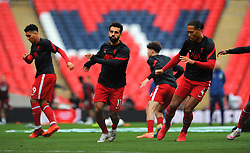 Mohamed Salah of Liverpool warms up prior to kick-off- Mandatory by-line: Nizaam Jones/JMP - 29/08/2020 - FOOTBALL - Wembley Stadium - London, England - Arsenal v Liverpool - FA Community Shield