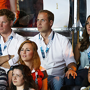 Commonwealth Games 2014 Glasgow. The Duke and Duchess of Cambridge and Prince Harry watch boxing at the SECC.