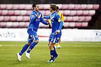 Fotball , 9. april 2012 , Adeccoligaen , 1. divisjon , Sarpsborg - Start 4-4<br /> <br /> Martin Wiig  ,Sarpsborg og Ole Christoffer Heieren Hansen , Sarpsborg (th) etter scoring