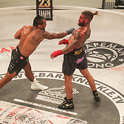 HOLLYWOOD, FL - JUNE 27: Luis Palomino punches at Tyler Goodjohn during the Bare Knuckle Fighting Championships at the Seminole Hard Rock & Casino on June 27, 2021 in Hollywood, Florida. (Photo by Alex Menendez/Getty Images) *** Local Caption *** Luis Palomino; Tyler Goodjohn