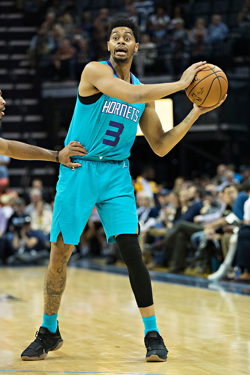 MEMPHIS, TN - OCTOBER 30:  Jeremy Lamb #3 of the Charlotte Hornets looks to make a pass during a game against the Memphis Grizzlies at the FedEx Forum on October 30, 2017 in Memphis, Tennessee.  NOTE TO USER: User expressly acknowledges and agrees that, by downloading and or using this photograph, User is consenting to the terms and conditions of the Getty Images License Agreement.  The Hornets defeated the Grizzlies 104-99.  (Photo by Wesley Hitt/Getty Images) *** Local Caption *** Jeremy Lamb