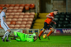 Dundee United's Louis Appere and Alloa Athletic's keeper Jamie MacDonald.  Dundee United 2 v 1 Alloa Athletic, Scottish Championship game played 7/12/2019 at Dundee United's stadium Tannadice Park.