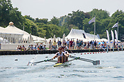 """Henley on Thames, United Kingdom, 3rd July 2018, Sunday,  """"Henley Royal Regatta"""",  Double Sculls Challenge Cup , Finalists, Bow Angus GROOM, Stroke Jack BEAUMONT GBR M2X, Leander Club, power away from  the Start, View, Henley Reach, River Thames, Thames Valley, England, UK."""
