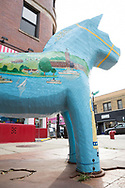 Stor dalahäst på North Clark Street i Andersonville, Chicago.<br /> <br /> Foto: Christina Sjögren