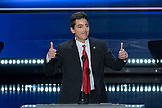 Actor Scott Baio addresses the first day of the Republican National Convention at the Quicken Loans Center July 18, 2016 in Cleveland, Ohio.